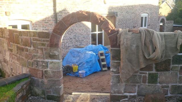 Red sandstone garden arch Helsby Cheshire 5