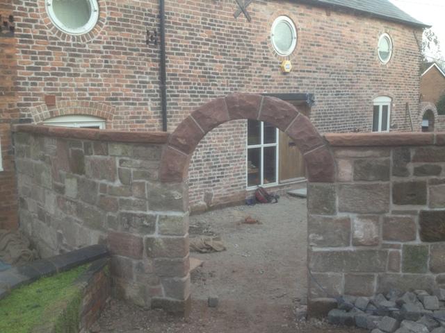 Red sandstone garden arch Helsby Cheshire 6