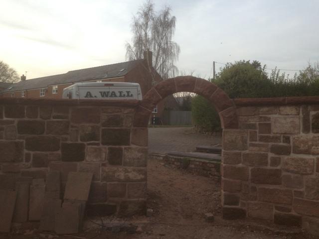 Red sandstone garden arch Helsby Cheshire 7