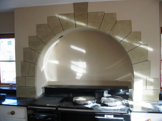 Sandstone kitchen arch above Arga Chester Cheshire 2