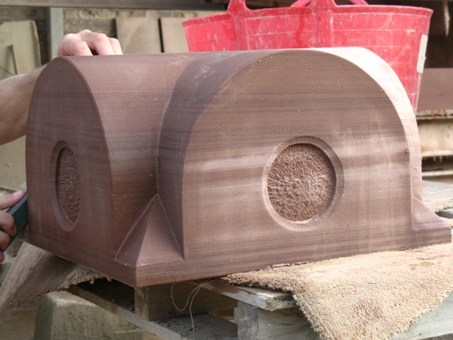 Hand made red sandstone gate post cap