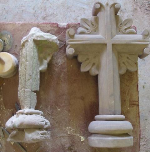 Detail Reproduction Sandstone cross restoration.