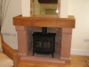Stone and brick fireplace