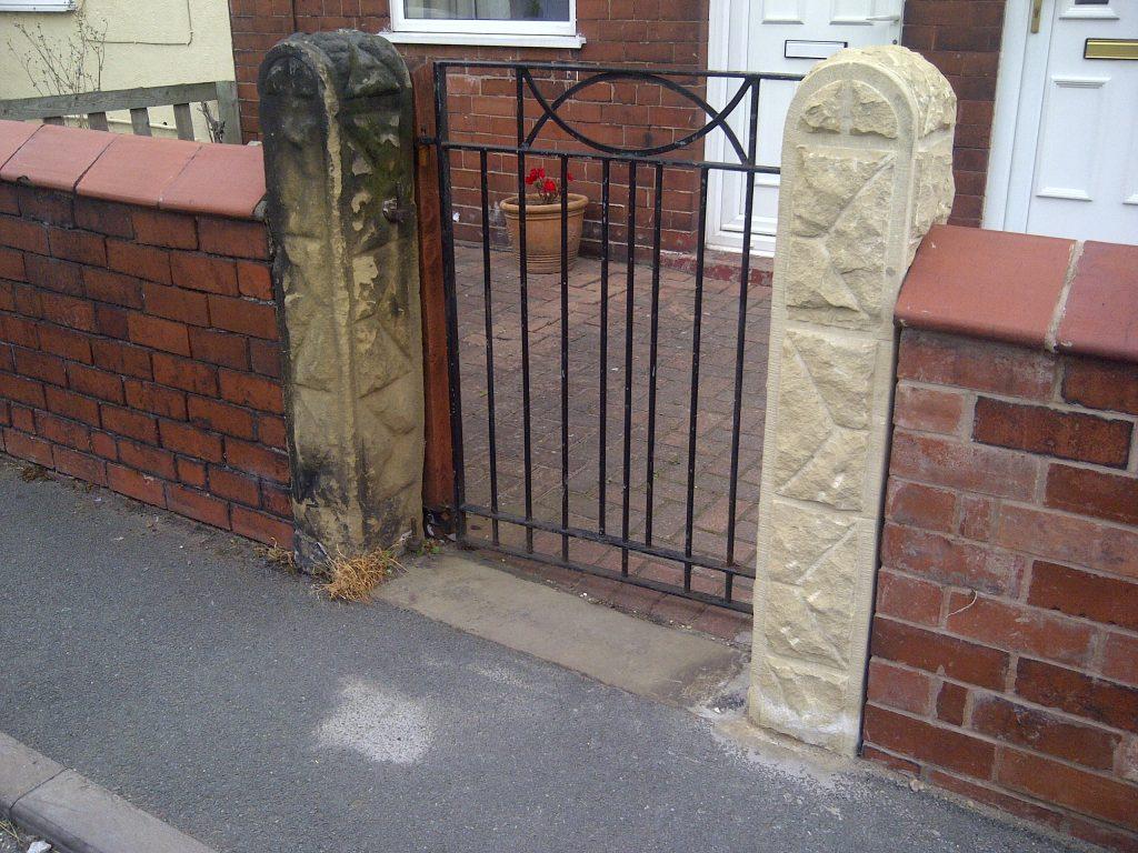 Handmade sandstone gateposts