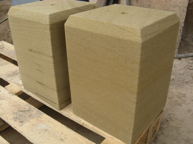 Buff sandstone chamfered staddle stone