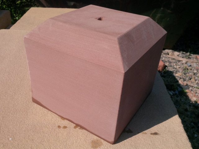 Red sandstone chamfered staddle stone