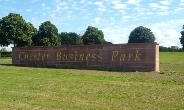 Chester business park Sandstone sign