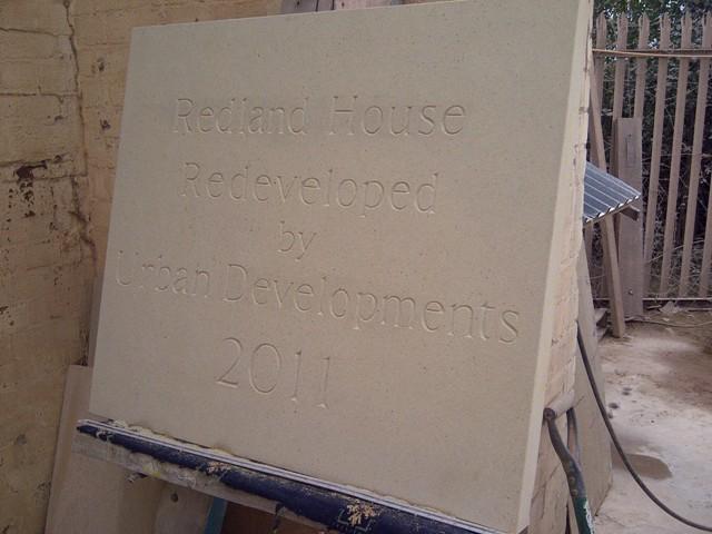 Sandstone date plaque
